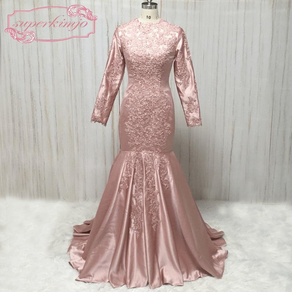 SuperKimJo Long Sleeve Mermaid   Evening     Dresses   2018 Lace Applique Beaded Muslim   Evening   Gown Vestido De Festa