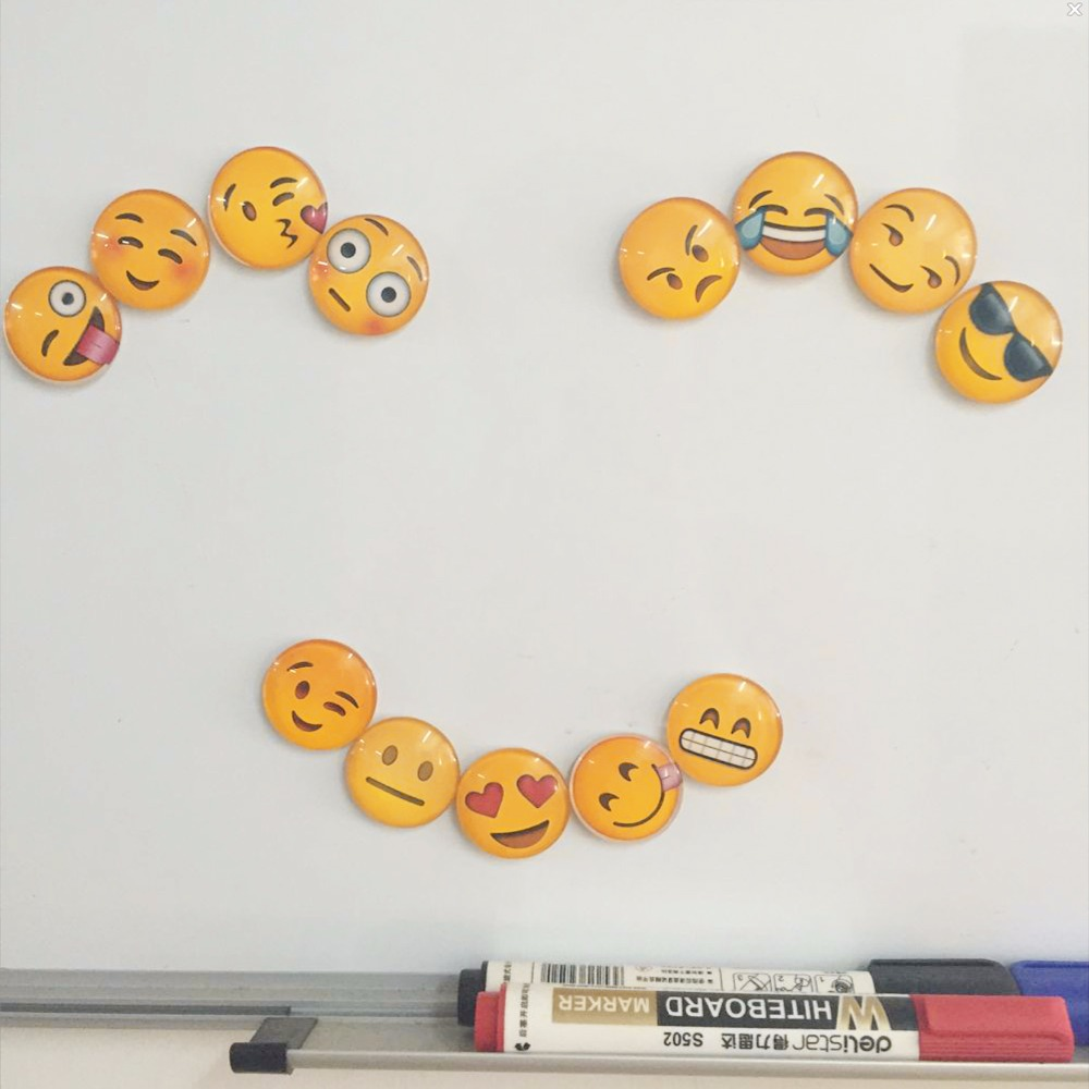 1 pcs Cute Round Cartoon Smile Emoji Face Refrigerator Sticker Fridge Magnet Toy 13 kinds to choose Glass Fridge Magnet ...