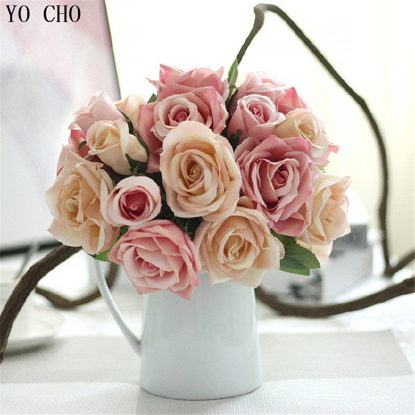 Us 7 51 49 Off 9 Heads Wedding Decorative Flower Artificial Flowers For Decoration Rose Silk Peony Bouquet Room Bridal In