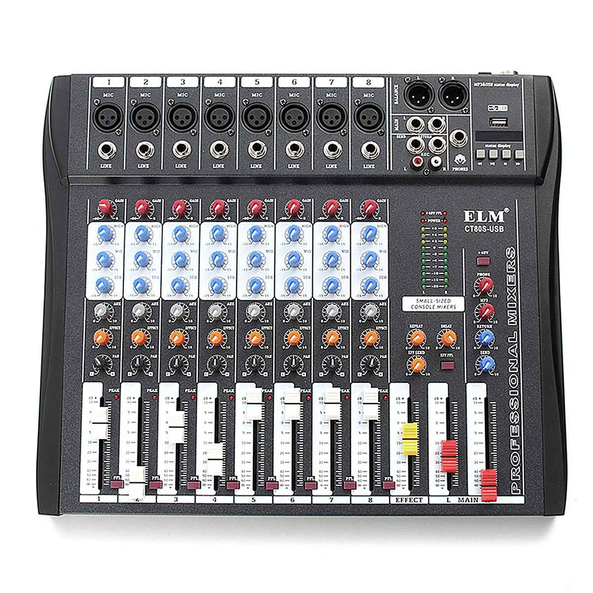 ELM Professional 8Channel DJ Sound Mixer Karaoke Audio Mixing Console For Microphone Amplifier With 48V Phantom Power USB Jack