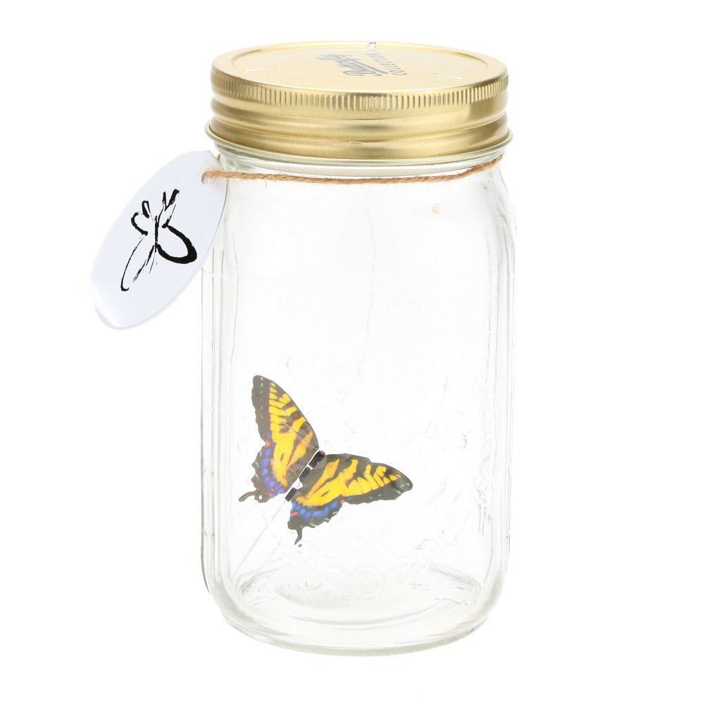 Romantic Glass LED Lamp Butterfly Jar Valentine Children Gift Decoration Yellow
