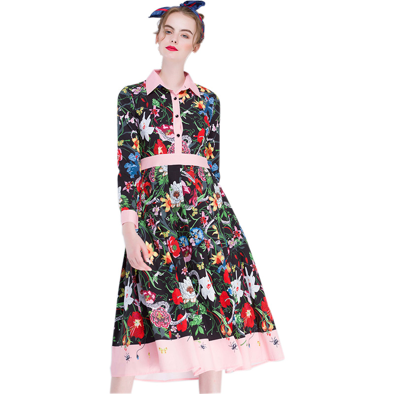 European American Women HIGH QUALITY 2017 Summer Flower Printed Runway Vintage Dresses Celebrity Plus Size XXXL Retro Slim Dress