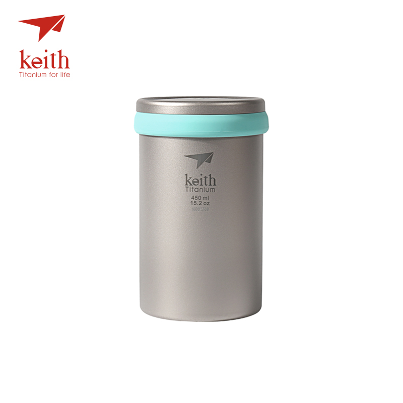 Keith Double Wall Titanium Mug Camping Tea Coffee Maker With Loose Tea Infuser Titanium Strainer For Cup 450ml 1pc teapot pot shape stainless steel leaf tea infuser filter strainer ball spoon strainer infuser tea spoon shaped teapot