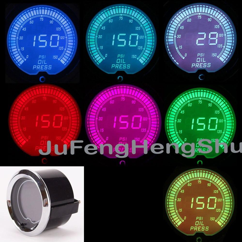 2inch 52mm Car Colorful Oil Pressure Gauge Psi 12v Auto 7 Color Led Light Tint Lens Gauges Car Digital Fuel Press Meter + Sensor