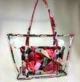 2017 verão novo saco de plástico pacote de bolsas de senhoras de saco transparente geléia de uva mãe saco da flor saco do mensageiro das mulheres
