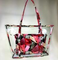 2018 verão novo saco de plástico pacote de bolsas de senhoras de saco transparente geléia de uva mãe saco da flor saco do mensageiro das mulheres
