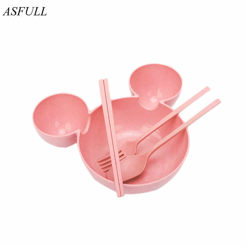 ASFULL food grade Wheat material plasitc mickey mouse big Head bowl Fruit plate tableware dish Spoon Chopsticks lunch box for
