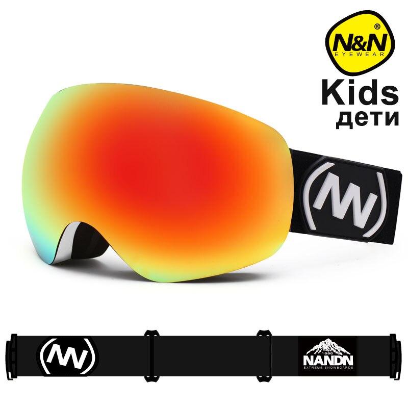 NANDN SNOW Children Ski Goggles Double Layers UV400 Anti-fog Big Ski Mask Glasses Skiing Snow Snowboard Goggles