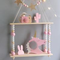 Nordic Hot sale bedroom wall shelves DIY Original Wood Beads Wall Shelf Storage Shelves Organization swing shelves Home Decor
