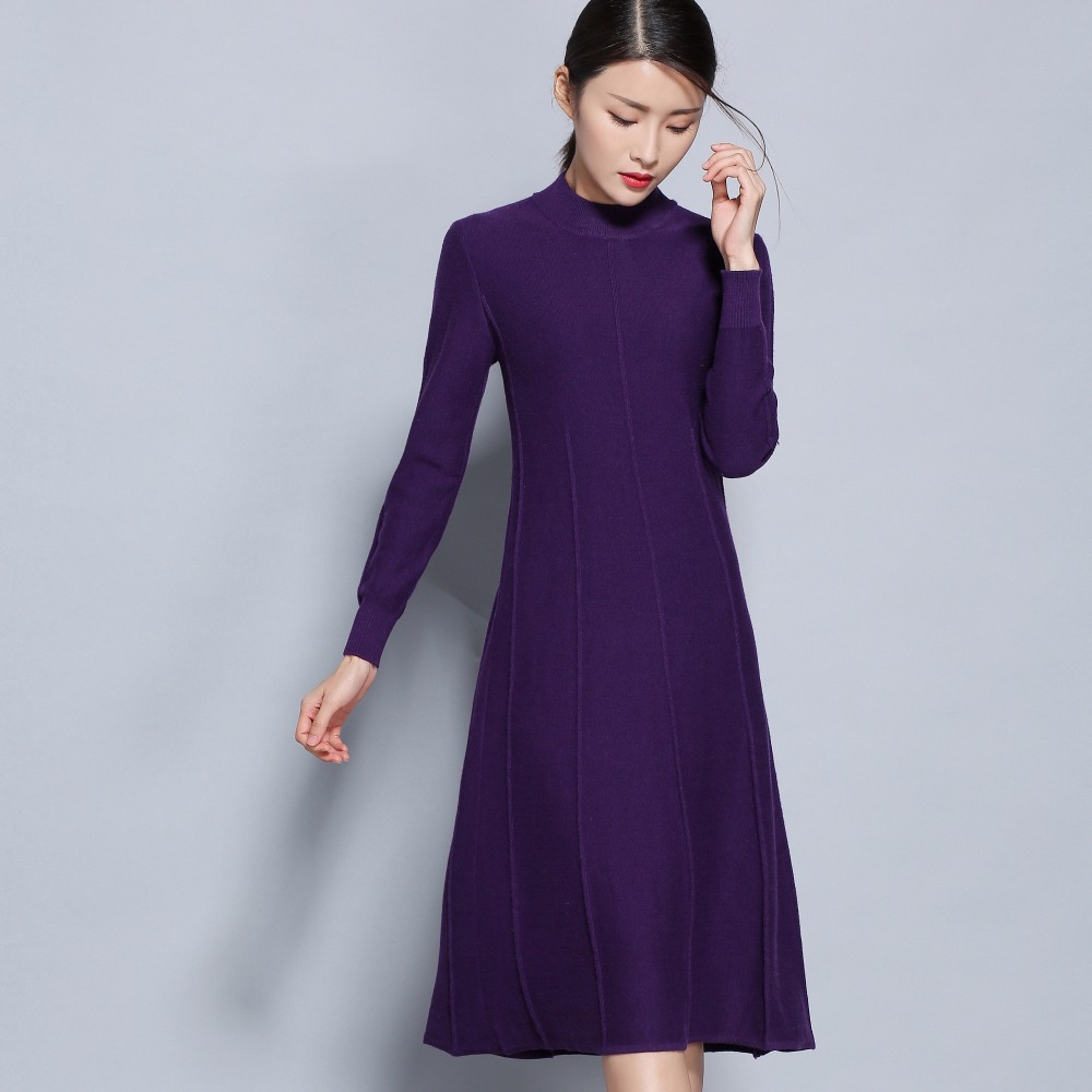 Women Dresses Cashmere and Wool Knitting Knitwear Hot Sale Longer Dress Ladies Oneck Winte