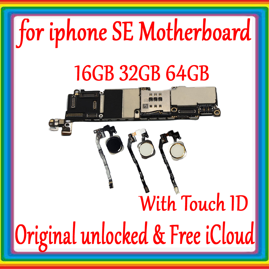 16GB /32GB /64GB for iphone SE Motherboard with Touch ID Plate Original unlocked for iphone 5SE SE Logic board 100% tested