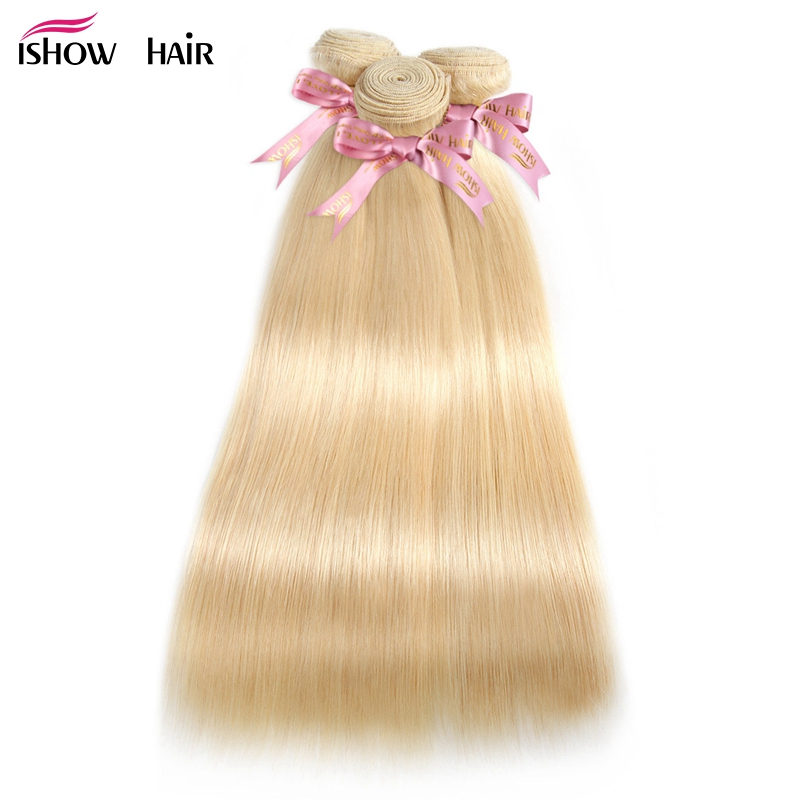 Ishow Blonde Straight Hair Bundles Brazilian Hair Weave Bundles 613 Bundles Human Hair Weave Extensions 1/3/4 Bundles Remy Hair