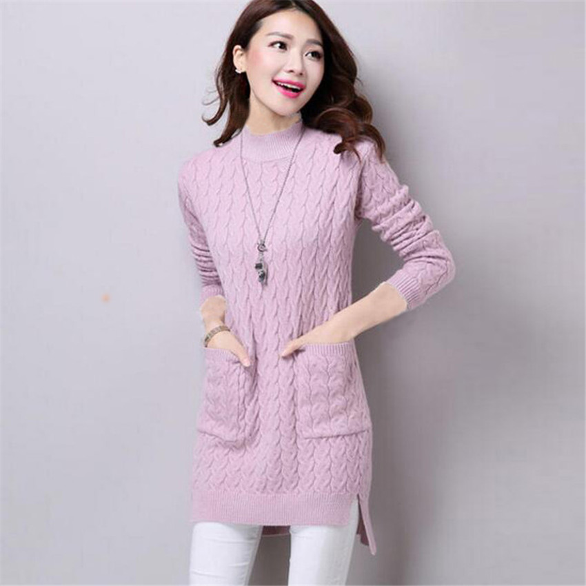 Women Turtleneck Sweater Dress New Autumn Winter Pockets Split Knitted Dresses Female Loose Pullovers Bottoming Vestidos AB604 women turtleneck front pocket sweater dress