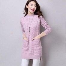 Для женщин Свитер с воротником платье Новый осень-зима карманов Разделение трикотажные Платья для женщин женские свободные Пуловеры для женщин дна Vestidos ab604