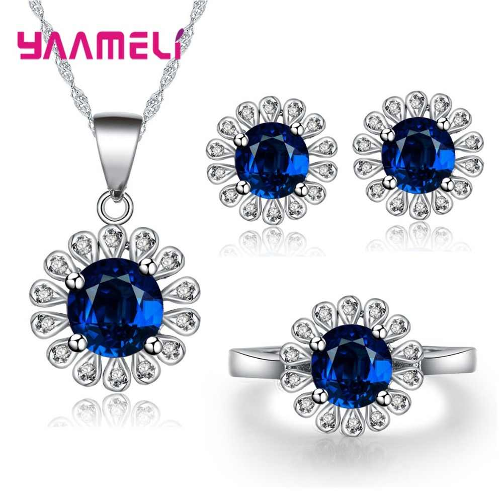 Top Quality Women Wedding Bridal Jewelry Sets Gift 925 Sterling Silver Sunflower Cubic Zircon Crystal Earrings Necklace Rings