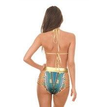 High Waist Bikinis Sets Hot Selling Women Swimsuit Girls Swimwear Sport Bodysuit Gold Print Bandage Beach Bathing Suit Swim