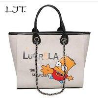 LJT Canvas Bag 2017 New Graffiti Chain Shoulder Bag Cartoon Luxury Handbags Large Capacity Women Messenger Bags Drop Shipping