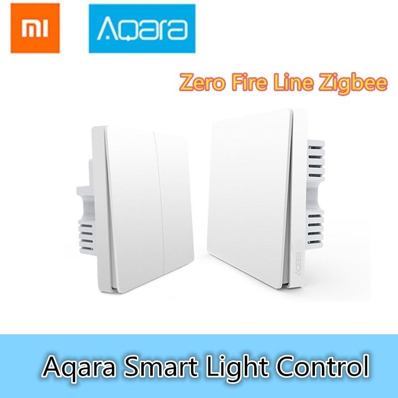 Xiaomi Aqara Smart Light Control Fire Wire Et Zéro Ligne ZigBee Sans Fil Connexion Unique Clé Version/Double Clé Version