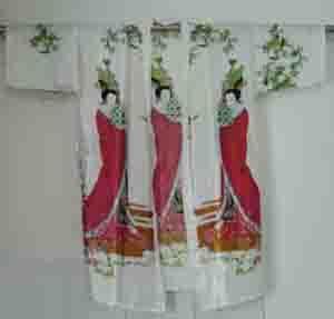 Blanco 2018 de la Llegada de Las Mujeres belle Caftán de Seda Robe Gown Impresión Albornoz Kimono Ropa de Dormir Vestido Dropshipping Ml XL