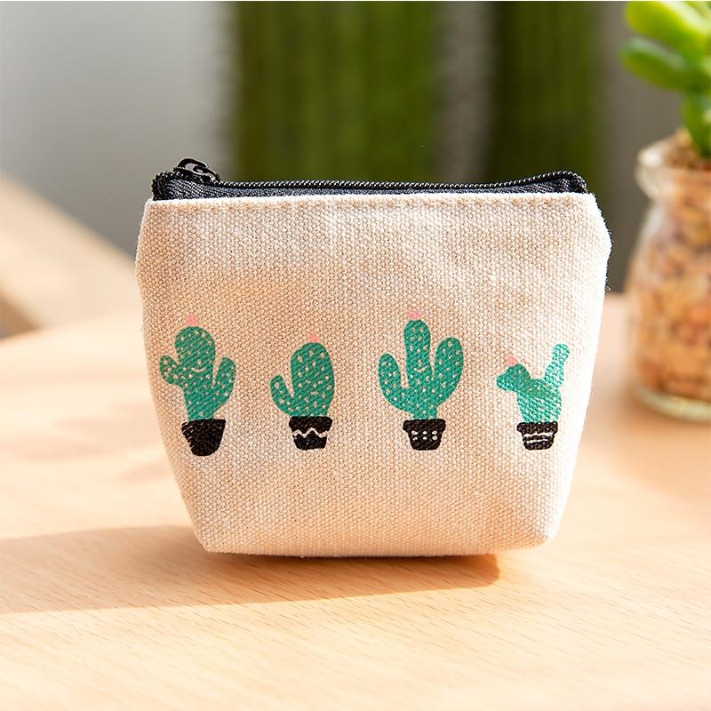 YOUYOU MOUSE New Cute Women Purses Cactus Zipper Canvas Student Mini Coin Key Zero Wallet Card Bag Women Student Gift