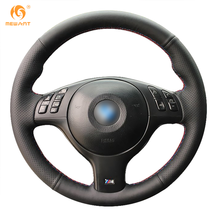 MEWANT Black Genuine Leather Car Steering Wheel Cover for BMW E46 E39 330i 540i 525i 530i 330Ci M3 2001-2003 защитные аксессуары car pakistan bmw alpina