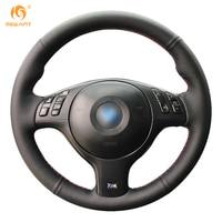 Mewant Black Genuine Leather Car Steering Wheel Cover For BMW E46 E39 330i 540i 525i 530i