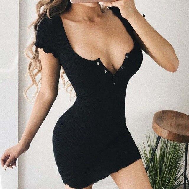 2018 New Black Yellow Sexy Bodycon Dress Women Night Club Mini Dress Spaghetti Strap Skinny Cami Dresses Vestido Party Dress 1