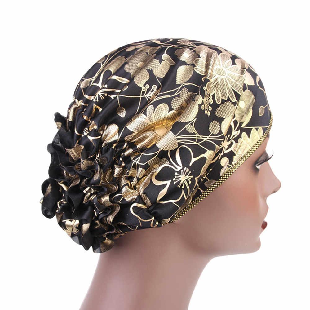 Muslim Turban Bandanas Women Headband Ruffle Cancer Chemo Hats Beanie Scarf  Head Wrap Headwear Fitness Workout fe9b56defbb5