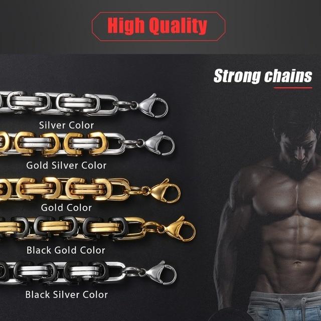 5mm byzantin boîte lien chaîne collier pour hommes garçons acier inoxydable or argent couleur colliers Hip Hop mode bijoux KNN19