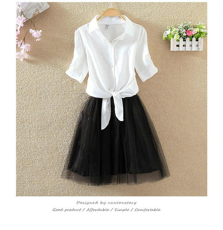 Women Suits Casual Clothing Sets Crop Top Fold Tulle Skirt Blouse 2 piece Dress Sets 2019 Summer Dress Suit Twin Sets Plus Size