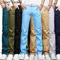 2017 новый бесплатная доставка мужчины брюки 7 цвета прямо в середине талии мужские брюки полная длина повседневная мода 30