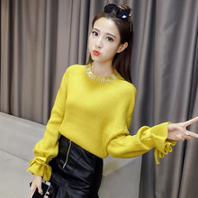 Korean new winter sweater cuff loose thick lantern female trumpet sleeve knit shirt sleeves