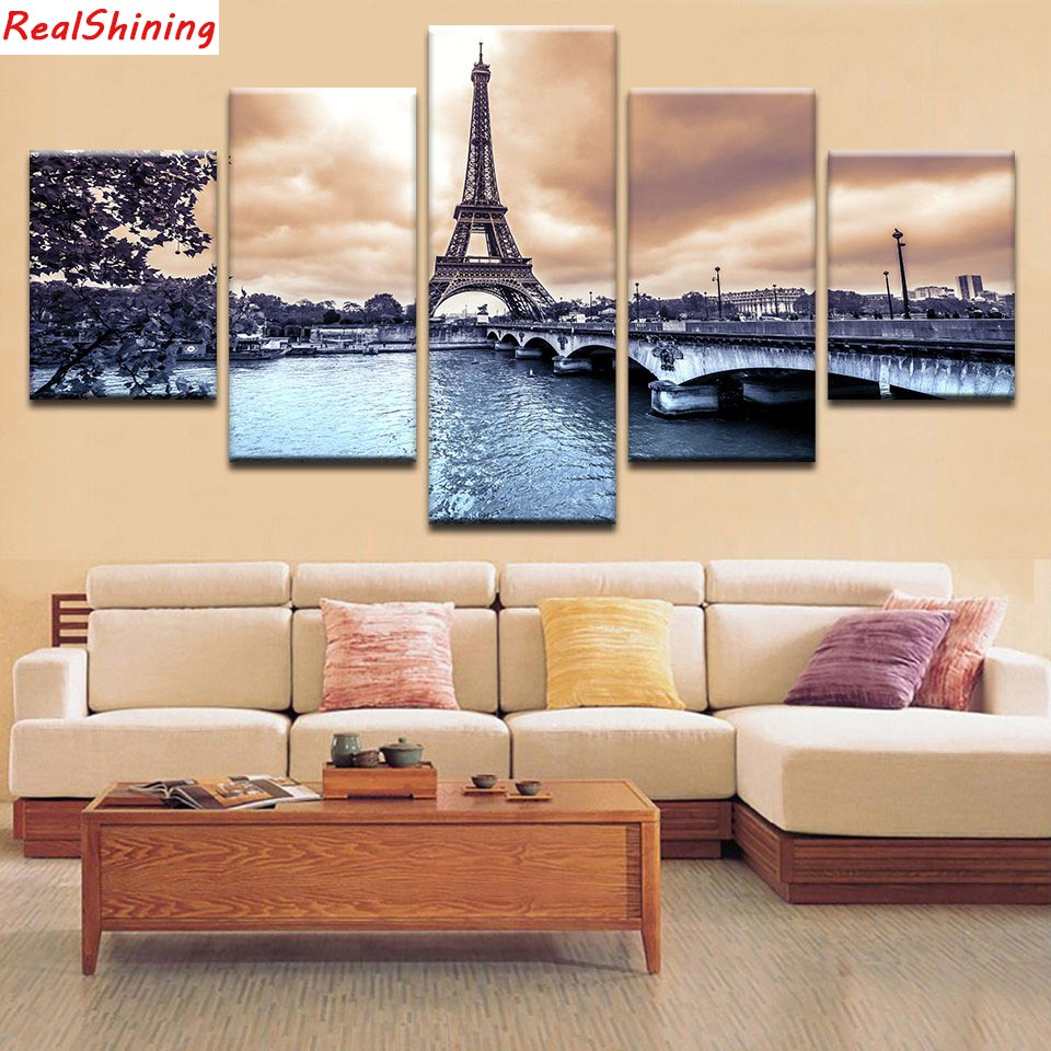 5pcs DIY Diamond Painting Paris scenery Full Square Diamond Embroidery Mosaic Picture Of Rhinestone H1375