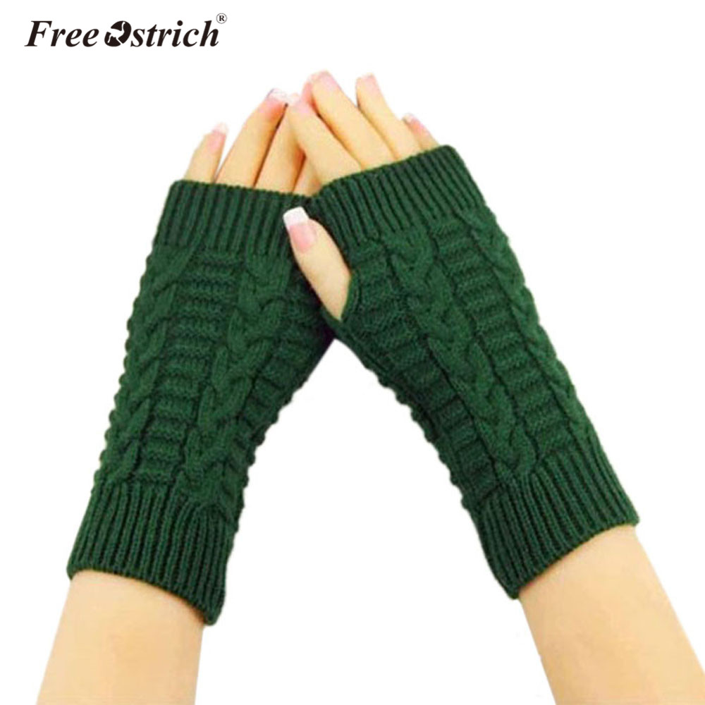 Free Ostrich Knitted Fingerless Fashion Unisex Soft Warm Mittens Winter Gloves New Arm Warmer Dropshiping CJ20
