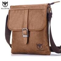 BULLCAPTAIN Vintage Fashion Men Messenger Bag 100 Genuine Leather Men Shoulder Crossbody Bag Brand Design Man