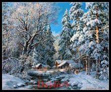 Foresta di inverno Creek Ricamo Arte E Mestieri Pieno di Ricamo FAI DA TE Contati Punto Croce Kit 14CT Stampati Complementi Arredo Casa Fatti A Mano