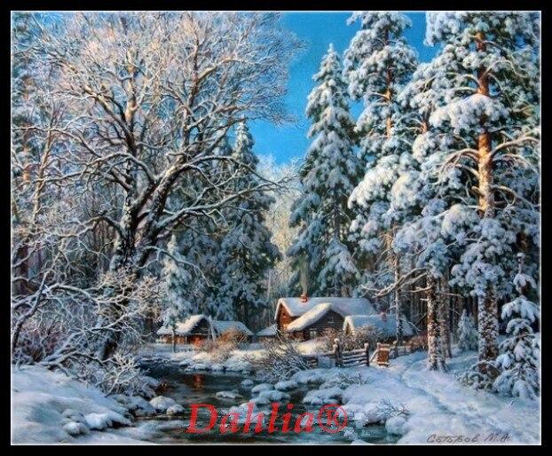 Inverno floresta creek needlework artes artesanato bordado completo diy contado kits de ponto cruz 14ct não impresso decoração para casa artesanal