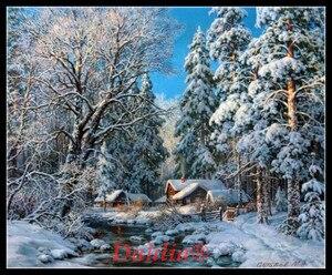 Image 1 - Kış orman dere İğne sanat el sanatları tam nakış DIY sayılan çapraz dikiş kitleri 14CT baskısız ev dekor el yapımı