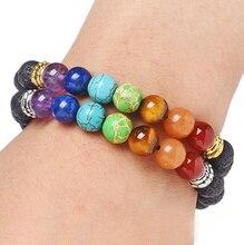 Christmas Gift 7 Chakra Tree Of Life Charm Bracelets Multicolor Beads Stones Weave Rope Bracelet Women Men Yoga