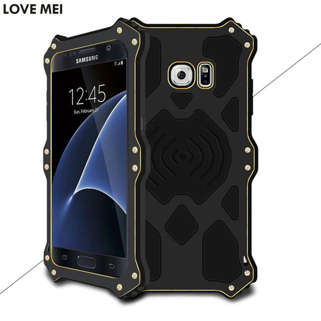 MK2 amor Mei Poderosa À Prova de Choque Silicone + Metal de Alumínio Para Samsung Galáxia S7/Caso Capa G9300 + Livre Temperado vidro