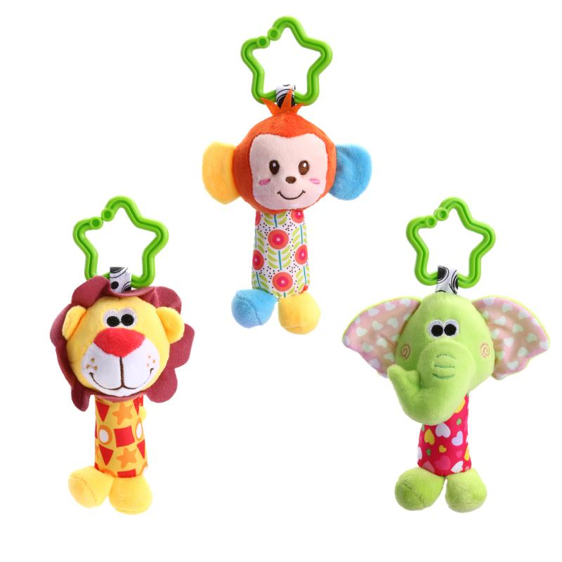 Newborn Baby Rattles Mobiles Toy Animal Toddler Crib Bed Hanging Bells EInfant Handbells Baby Stroller Developmental Grabing Toy