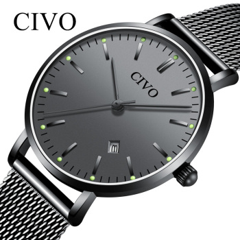 CIVO Business Casual Men's Quartz Watches Waterproof Date Luminous Display Sports Clock Ultra-thin Steel Mesh Mens Women Watches