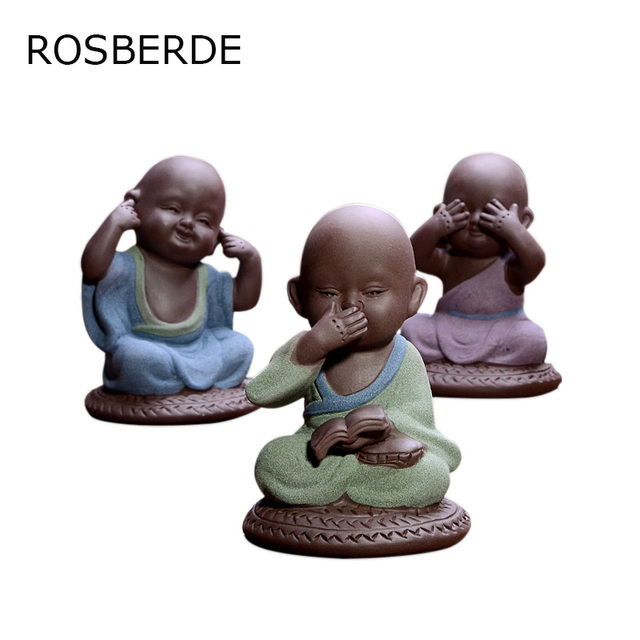 Ceramic Buddha Statue Purple Sand Pottery Buddhist Monk Tea Pet Home Decor  Buddhism Figurines Chanting Monk