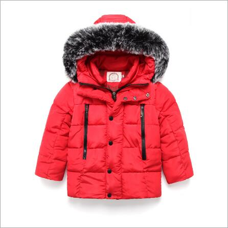 GARYDUCK 2017 New Kids Boys Winter Down Jackets Outerwear Coats Fashion Big Fur Collar Thick Warm Cotton Coat For 2-7T Baby