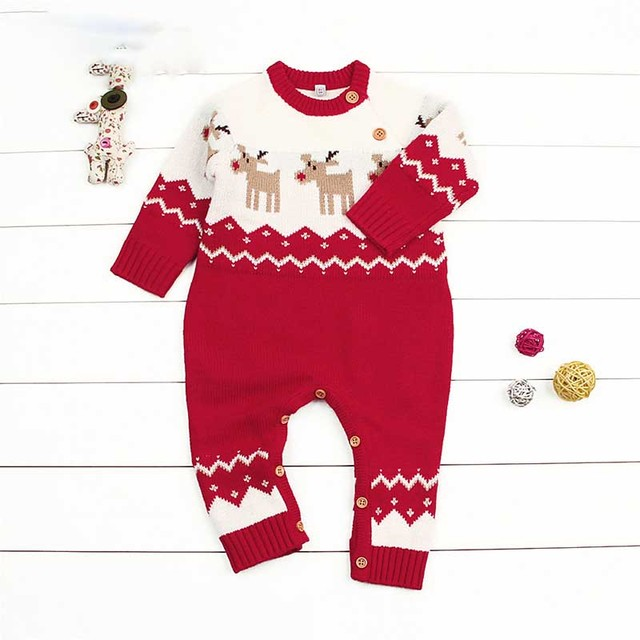 9006a3c28d4d Everweekend Baby Boys Girls Dears Knitted Christmas Long Sleeve ...