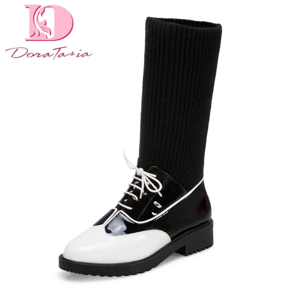 DoraTasia 2018 marque grandes tailles 33-43 chaussures pour femmes en cuir véritable chaussettes bottes automne hiver bottes femme chaussures de loisirs