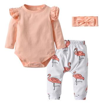 Noworodka jesień dziewczynek odzież 3 szt Zestaw ładny różowy top z długimi rękawami z falbanami + nadruk flaminga spodnie + pałąk maluch ubrania tanie i dobre opinie EGHUNOOY COTTON Moda O-neck Zestawy Przycisk zadaszone Pełna REGULAR Pasuje prawda na wymiar weź swój normalny rozmiar