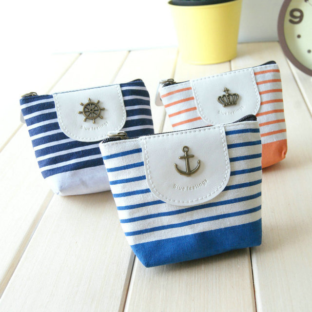 Summer small fresh ocean wind blue stripe small fluid fabric coin purse coin case women's handbag
