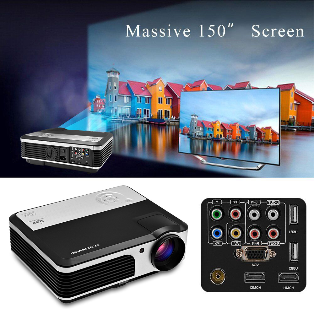 CAIWEI Portable Home Thearter Projector Miracast Airplay LCD LED Multimedia Proyector Multi Screen Display HDMI VGA USB