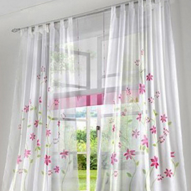 Urijk Pink Curtains Hanging Section Pure Hand Painted Pastoral Style Floral  Curtains For Bedroom Living